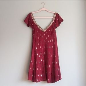 Altar'd State Red Sequin Cap Sleeve Dress